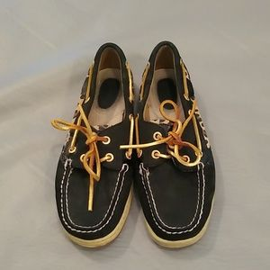 Sperry black & animal print top siders